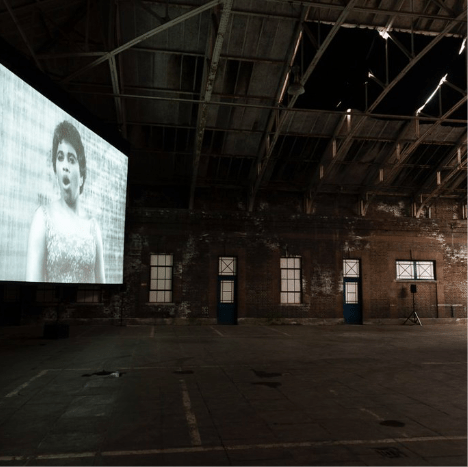 Art film on show in warehouse