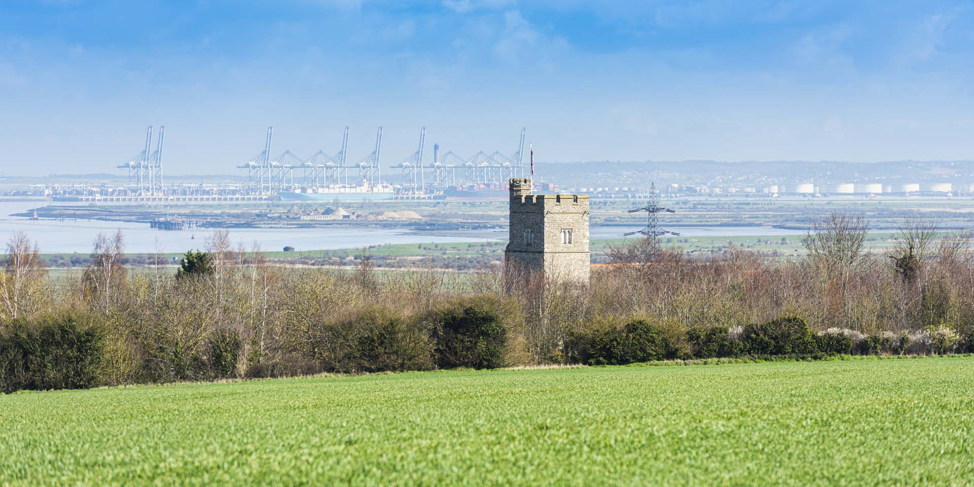 St Mary's Church in Chalk near Gravesend in Kent, England. Thames estuary and Essex can be seen in the distance