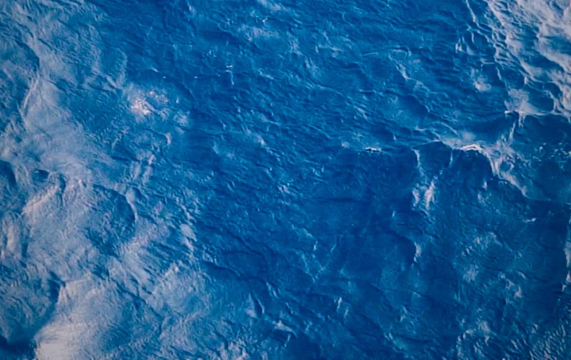 Blue flowing sea water