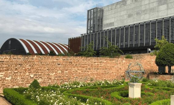 Garden grass and sculpture