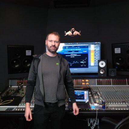 Len in the studio (pre lock-down hair!)